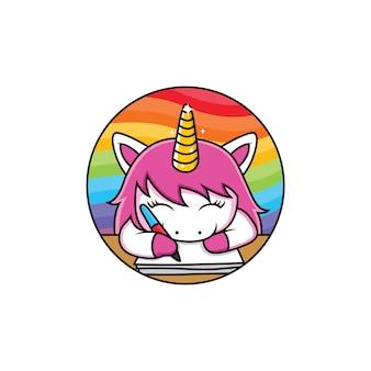 Gli unicorni carini stanno scrivendo sull'arcobaleno