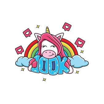 Gli unicorni sono felici con l'arcobaleno