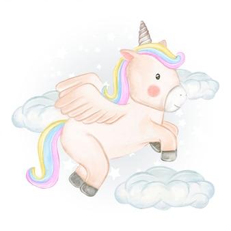 Gli unicorni sorvolano le nuvole nelle illustrazioni ad acquerello