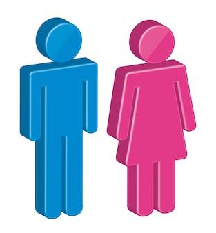 Gli uomini 3d e le donne firmano sopra il vettore bianco della priorità bassa