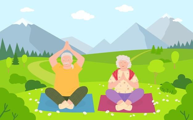 Gli uomini anziani e le donne fanno il fumetto di yoga. persone anziane in buona salute e stile di vita attivo. estate all'aperto