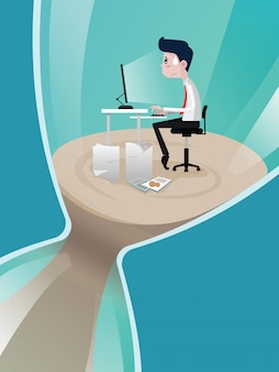 Gli uomini d'affari a lavorare a clessidra in tempo scadenza