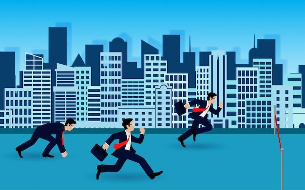 Gli uomini d'affari corrono al traguardo per il successo nel business concept. idea creativa