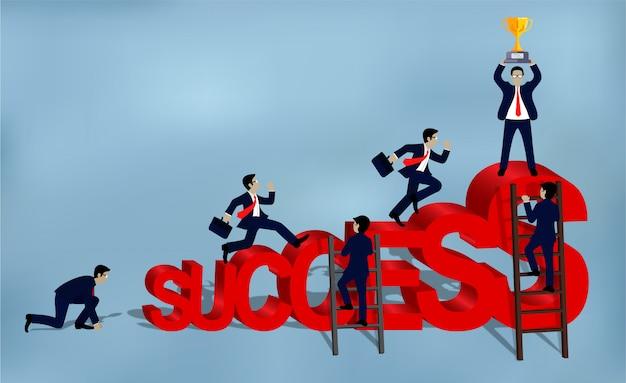 Gli uomini d'affari corrono per il concetto di successo aziendale