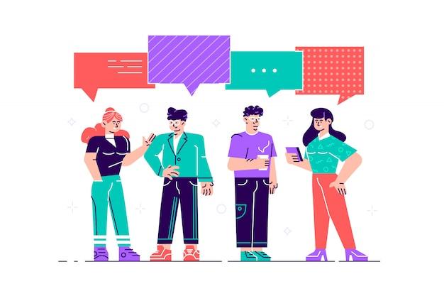 Gli uomini d'affari discutono di social network