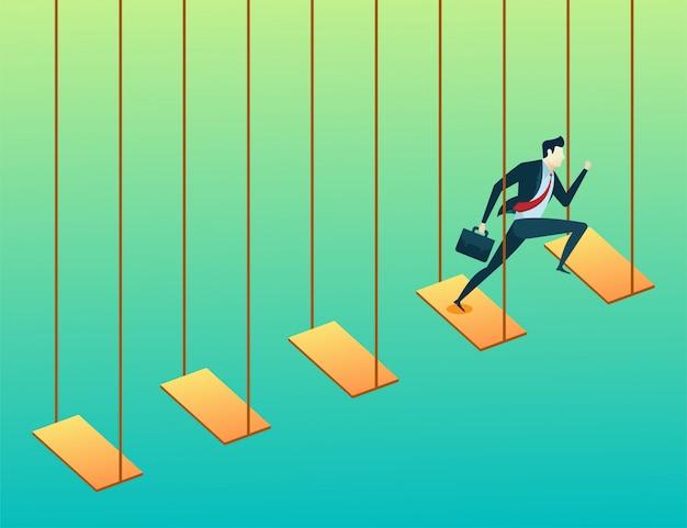 Gli uomini d'affari e salto altalena vanno obiettivi