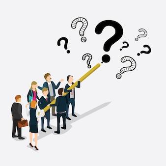 Gli uomini d'affari hanno progettato il punto interrogativo isometrico
