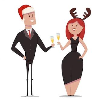 Gli uomini d'affari in giacca e cravatta con un bicchiere di champagne festeggiano il natale. vector i personaggi dei cartoni animati dell'uomo in cappello e donna di santa isolati