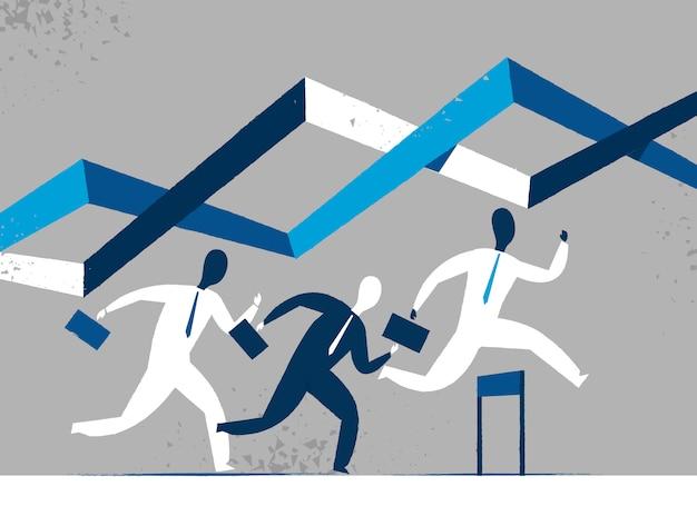Gli uomini d'affari in una corsa
