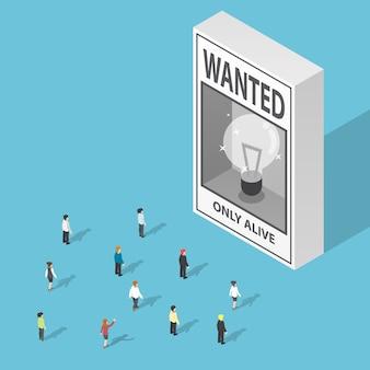 Gli uomini d'affari isometrici guardando idee volevano poster