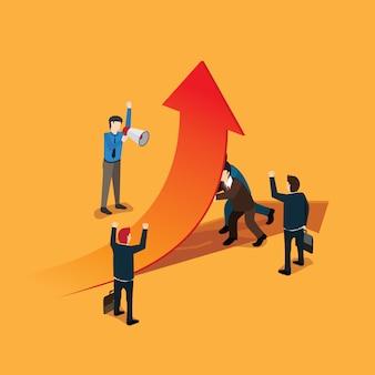 Gli uomini d'affari lavorano per la freccia simbolo del successo