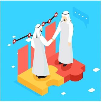 Gli uomini d'affari piani isometrici due che fanno l'affare vector l'illustrazione