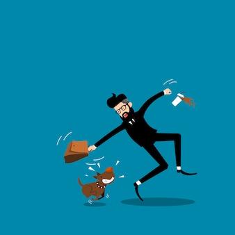 Gli uomini d'affari sono morsi dal vettore di cani.