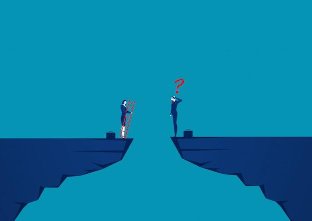 Gli uomini d'affari stanno gareggiando attraverso la scogliera verso l'obiettivo di fronte alla scala rossa per raggiungere l'obiettivo di successo