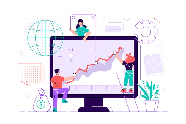 Gli uomini d'affari stanno spingendo verso l'alto il loro grafico. lavoro di squadra. presentazione aziendale. illustrazione piatta. assistente mobile di concetto di affari di progettazione grafica, attività bancarie mobili. assistente aziendale.