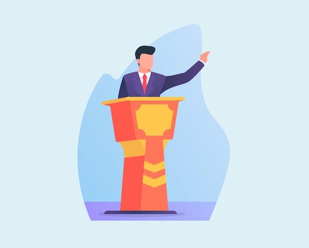 Gli uomini d'affari tengono un discorso sul podio con uno stile piatto