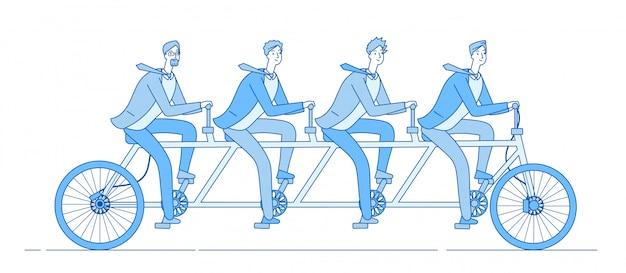 Gli uomini d'affari vanno in bicicletta. partnership, team in sella a una bicicletta insieme. cooperazione commerciale di squadra e concetto della linea di comando
