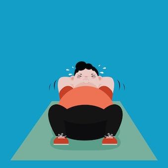 Gli uomini grassi si esercitano con sit up