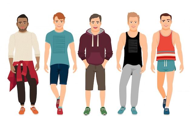 Gli uomini in buona salute in vestiti di sport vector l'illustrazione. i giovani bei ragazzi nella misura casuale di forma fisica hanno isolato