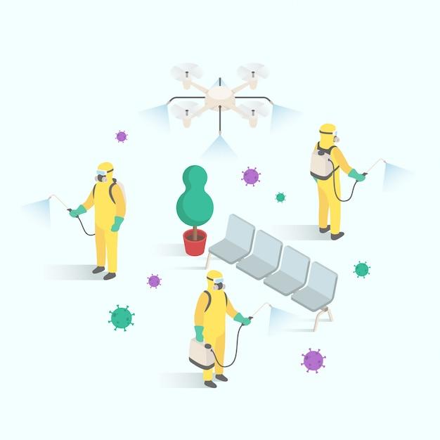 Gli uomini in tuta hazmat puliscono le aree pubbliche da virus e batteri nel disegno isometrico