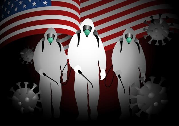 Gli uomini in tuta ignifuga che trasportano spray disinfettanti con bandiera usa come sfondo