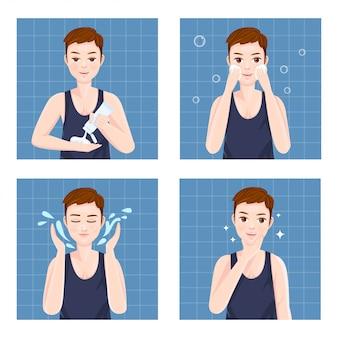 Gli uomini puliscono il viso con schiuma detergente