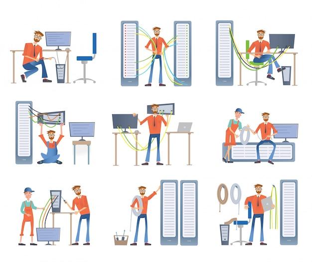 Gli uomini sono impegnati nella riparazione e manutenzione di server e computer. amministratori di sistema. set di illustrazione, su sfondo bianco.