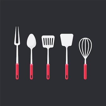 Gli utensili da cucina hanno messo l'illustrazione di vettore