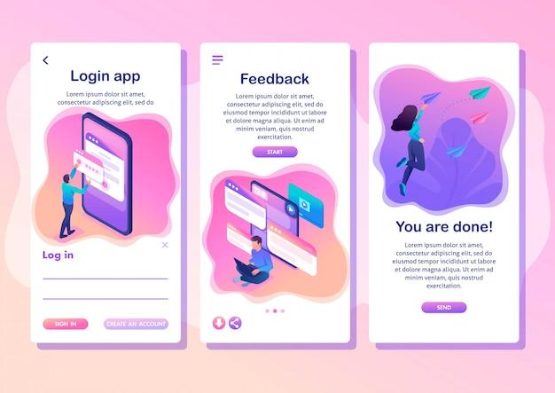Gli utenti del concetto luminoso dell'app isometric template scrivono commenti, richiami e feedback su servizi, app per smartphone