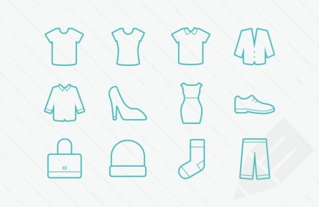 Glifi icone vettoriali di abbigliamento