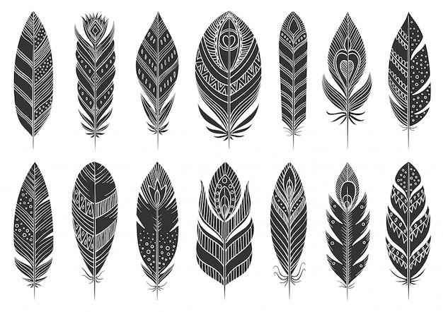 Glifo etnico piuma boho, set sagoma nera, simbolo tribale azteco indiano etnico disegnato a mano.