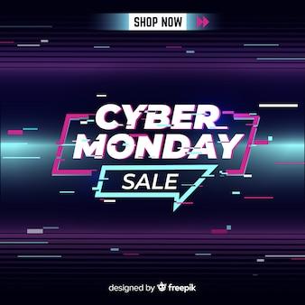 Glitch cyber lunedì con linee di movimento