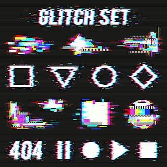 Glitch set su sfondo nero