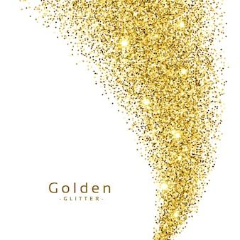 Glitter dorato su sfondo bianco