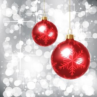 Glitter sfondo argento con palline rosse