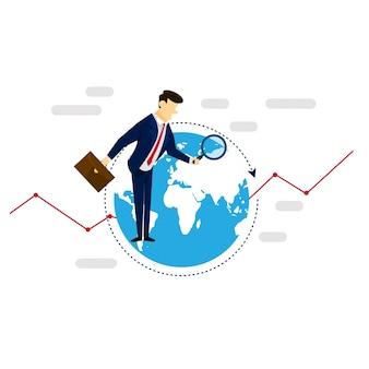 Global research businessman concetto di illustrazione della strategia di business
