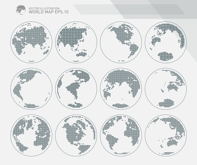 Globi che mostrano la terra con tutti i continenti