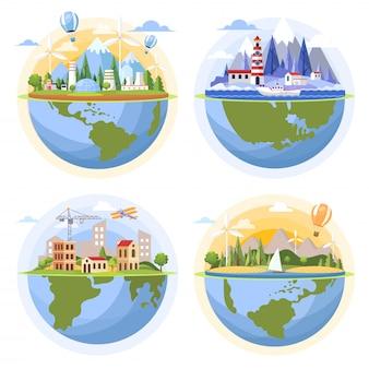 Globi con illustrazione di paesaggi. fabbrica nucleare, turbine eoliche, mare, costruzione di città.