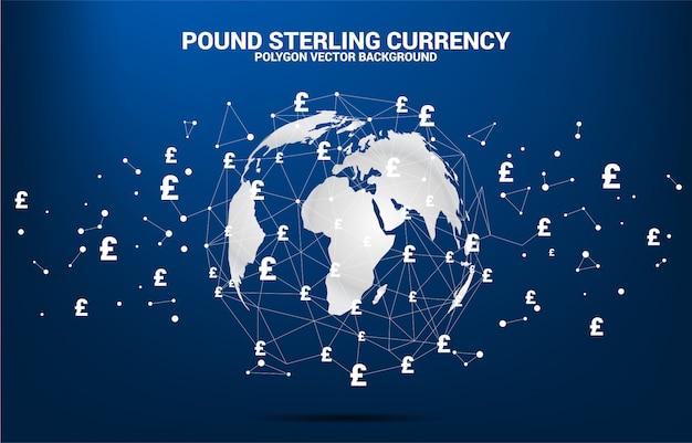 Globo del mondo con la linea collegata punto del poligono di simbolo di valuta di sterlina dei soldi.