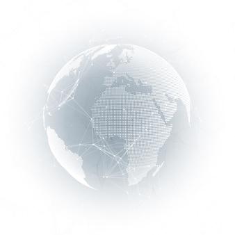 Globo del mondo con ombra su grigio. connessioni di rete globale astratta
