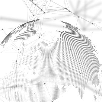 Globo del mondo con ombra su sfondo grigio. connessioni di rete globali astratte, tecnologia di progettazione geometrica