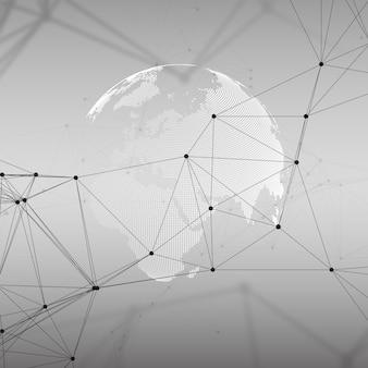 Globo del mondo punteggiato con pattern di chimica, linee e punti di collegamento. struttura della molecola su grigio. ricerca sul dna medico scientifico. concetto di scienza o tecnologia. priorità bassa astratta di disegno geometrico