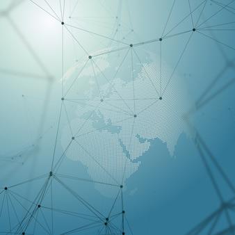 Globo del mondo su blu. connessioni di rete globale, progettazione geometrica, concetto di dati di scavo.