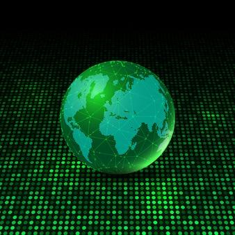 Globo del mondo su sfondo di punti incandescente