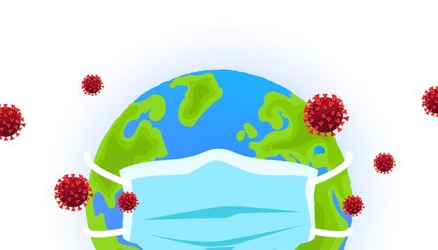 Globo del pianeta in una maschera medica con cellule di coronavirus intorno. covid 19.