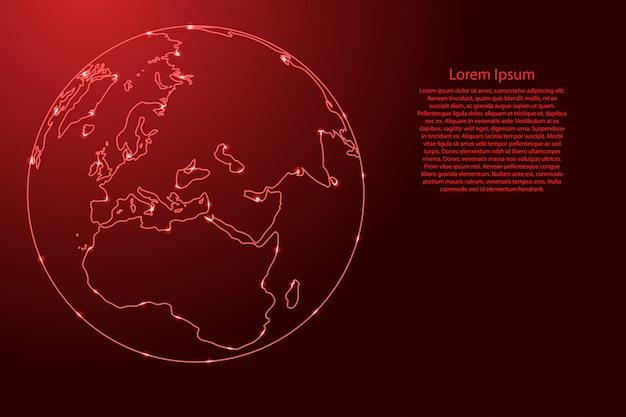 Globo del pianeta terra con i continenti dell'africa e dell'eurasia dalla rete di contorni rossi, stelle spaziali luminose