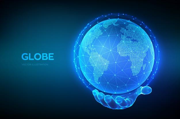 Globo del pianeta terra in mano wireframe.