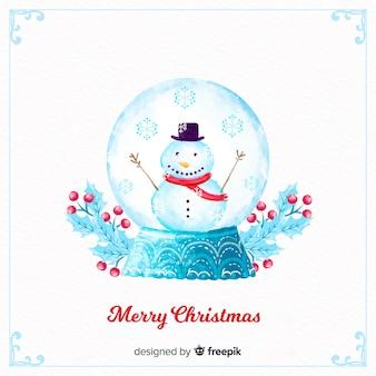 Globo della palla di neve di natale dell'acquerello