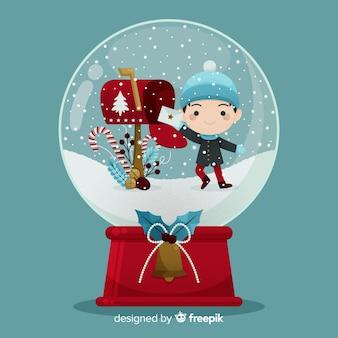 Globo della palla di neve di natale design piatto con bambino
