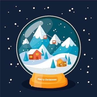 Globo della palla di neve di natale design piatto